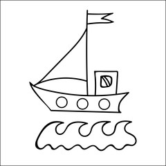 Black line ship with flag for coloring book and other child design