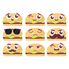 Set of burgers with emotions, set of emoji, isolated on white background vector illustration