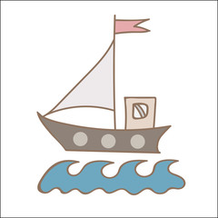 Soft color ship with flag for coloring book and other child design