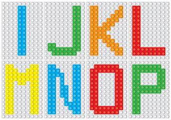 Bricks alphabet set, letters : I J K L M N O P  / vector illustration