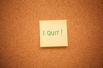 I quit note on cork board