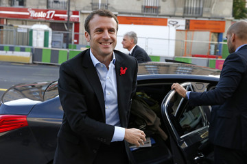 French Economy Minister Emmanuel Macron arrives to visit the 42 school campus in Paris