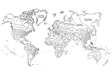 the world map white