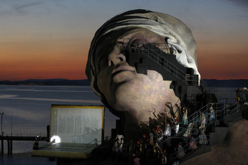 The scenery for the opera 'Andre Chenier' by Giordano is seen on a giant floating stage at Lake Constance during a photo rehearsal in Bregenz
