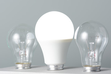 Glowing led lamp and incandescent bulbs