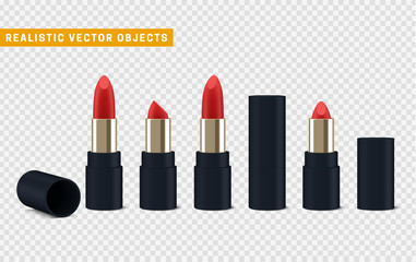 Red lipstick 3d illustration of a beautiful illustration. Isolated realistic set lipstick with transparent vector effect