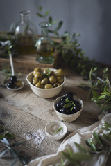 Fresh Mediterranean black and green olives