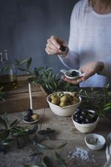 Fresh Mediterranean black and green olives