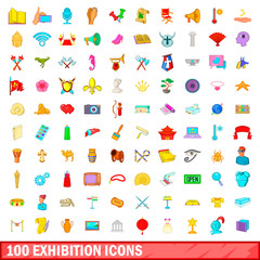 100 exhibition icons set, cartoon style