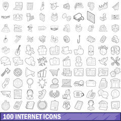 100 internet icons set, outline style