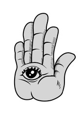 A symbol of a hand with an eye inside. Vector Illustration