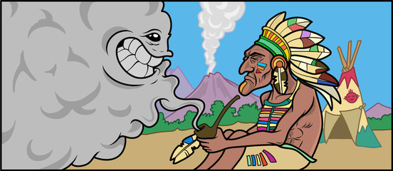 A Native american Shaman talking with a smoke cloud. Vector Illustration