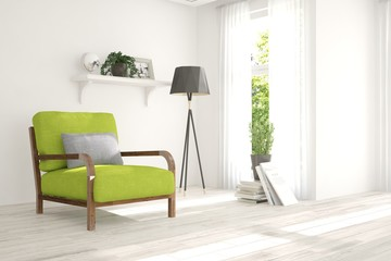 White modern room with armchair. Scandinavian interior design. 3D illustration