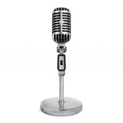 Vintage classic silver microphone with tabletop stand.Realistic 3D rendering.Isolated on white background.Front view.