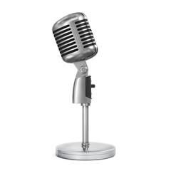 Vintage classic silver microphone with tabletop stand.Realistic 3D rendering.Isolated on white background.Side view.
