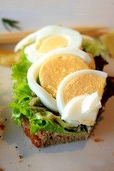 Fresh salmon egg sandwich