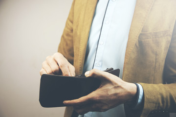 business man hand wallet
