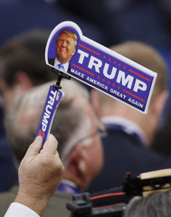 A delegate holds a Trump noisemaker at the Republican National Convention in Cleveland