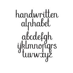 Handwritten font. Vector ABC. Modern Calligraphy alphabet. Hand Lettering.