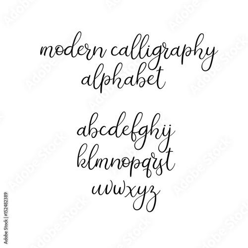 Handwritten Brush Letters ABC Modern Calligraphy Hand Lettering Vector Alphabet