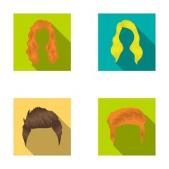 A woman's hairdo, a man's hairstyle.Beard set collection icons in flat style vector symbol stock illustration web.