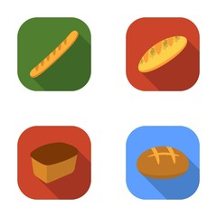 Rye bread, French loaf, round, cut loaf.Bread set collection icons in flat style vector symbol stock illustration web.