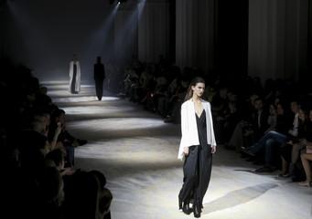 Model presents creation by designer Datuna Sulikashvili of Georgia at Ukrainian Fashion Week in Kiev