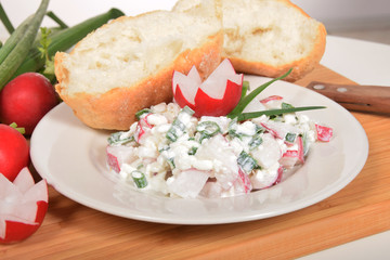 cottage cheese with chives and radish fresh bun delicious breakfast