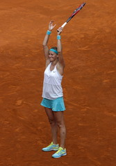 Czech Republic's Kvitova celebrates victory over Russia's Kuznetsova after their final match at the Madrid Open tennis tournament in Madrid