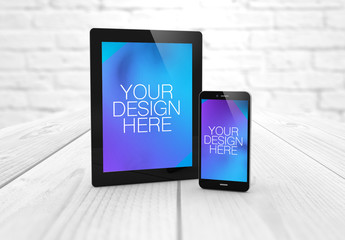 2 Devices on Wooden Surface Mockup 1