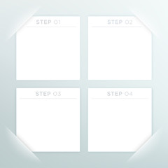 4 Vector White Square Blank Text Boxes Template