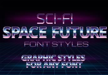 Retro Sci-fi Chrome Text Style Set 1