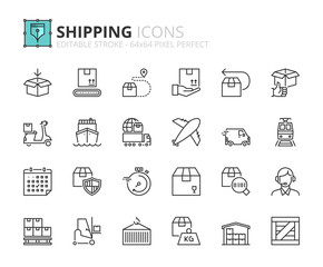 Outline icons about shipping