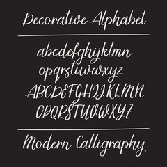 Modern calligraphy alphabet. Handwritten brush letters. Uppercase, lowercase. Vector font.