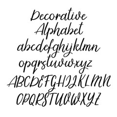 Decorative calligraphic alphabet. Handwritten brush letters. Uppercase, lowercase. Vector font