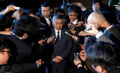 BOJ Governor Kuroda speaks to the media after meeting with Japan's PM Abe at Abe's official residence in Tokyo