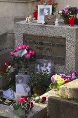 Grave of lead singer Jim Morrison at the Pere Lachaise Cemetery in Paris