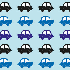 Seamless pattern of funny cars. Kids toys. Bright colors. Vector illustration of car blue shades.