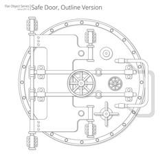 Safe and Vault Door. Vector illustration of a Safe and Vault Door. Outline version.