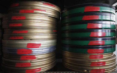 Reels of film are seen inside the Yugoslav Film Archive in Belgrade