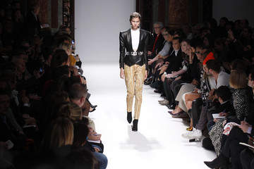 A model presents a creation by French designer Olivier Rousteing as part of his Spring/Summer 2013 women's ready-to-wear fashion show for fashion house Balmain during Paris fashion week