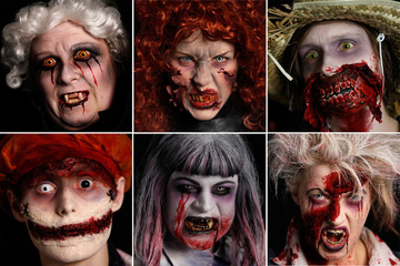 A combination of photos shows costumed performers for the Movie Park Germany in the western city of Bottrop