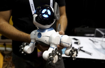 A robotic dog named CHiP by WowWee, described as being able to learn tricks from its owner, is demonstrated at the opening event at the Consumer Electronics Show in Las Vegas