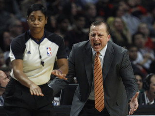Chicago Bulls' coach Thibodeau argues referee's call during NBA basketball game against Boston Celtics in Chicago