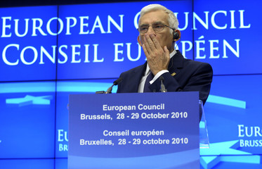 European Parliament President Jerzy Buzek holds a news conference during an EU leaders summit in Brussels
