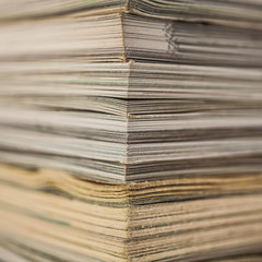 A stack of old magazines macro