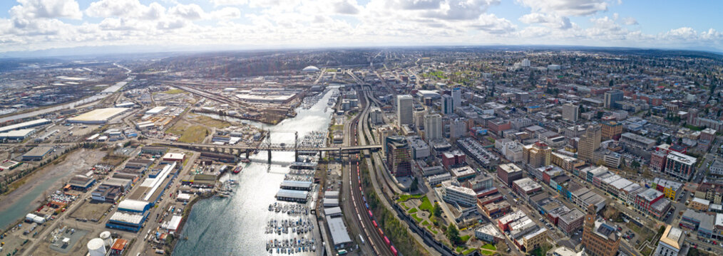 Tacoma, Washington Aerial Overview City Downtown