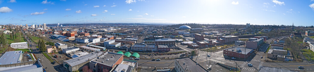 Poster Industrial geb. Tacoma, Washington USA City Downtown Aerial Panorama