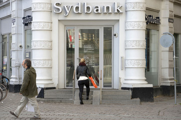 The entrance of Danish finance institute Sydbank is pictured in Copenhagen