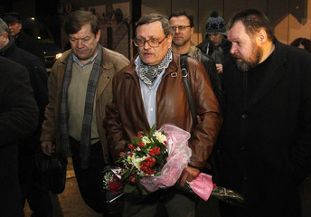 Chamov, Russia's former Ambassador to Libya, leaves after speaking to journalists at Moscow's Sheremetyevo airport